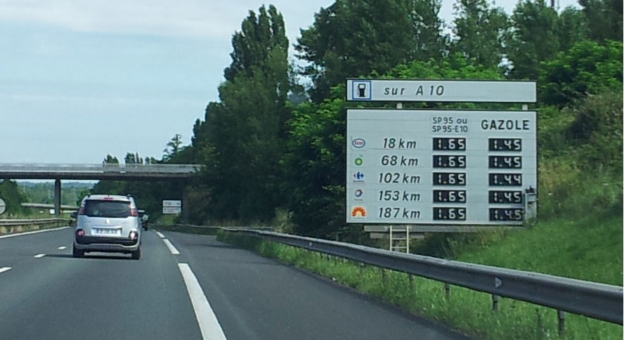French motorway sign fuel prices